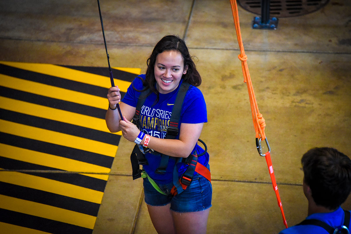 happy young woman in harness